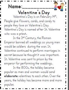 valentines reading comprehension worksheet 1000 images about s day classroom on