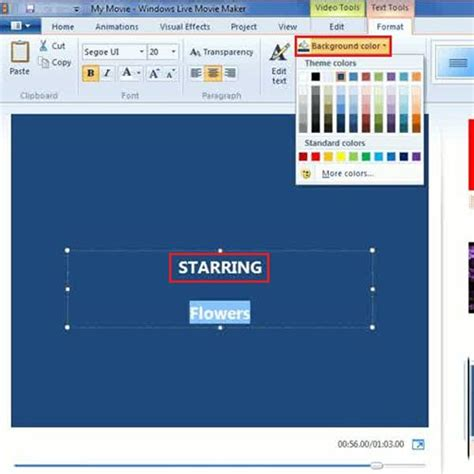 layout movie maker how to add and modify credits in a project in movie maker