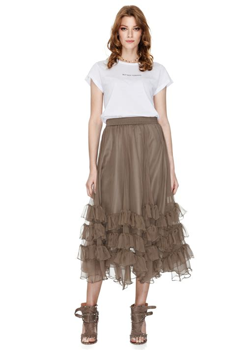 brown silk chiffon midi skirt pnk casual