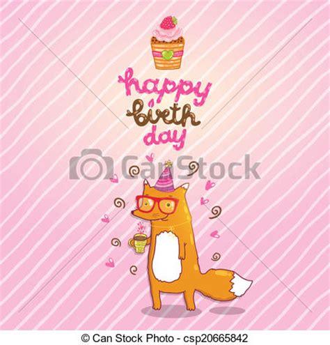 imagenes hipster de feliz cumpleaños vector feliz cumplea 241 os tarjeta hipster zorro