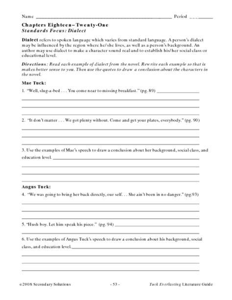 Tuck Everlasting Worksheets by Worksheets Tuck Everlasting Worksheets Opossumsoft