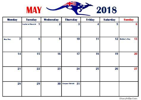 may 2018 calendar may 2018 australia calendar with holidays