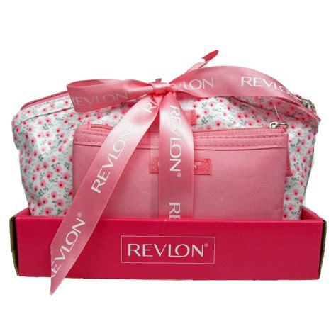 revlon designer 2 pink and white cosmetic travel bag