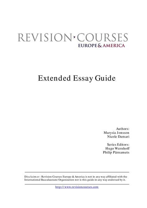 Extended Essay Guide by Extended Essay Guide By Revision Courses Europe America By Revision Courses Europe America