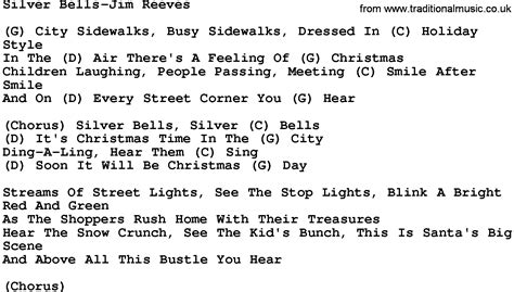 printable lyrics for silver bells country music silver bells jim reeves lyrics and chords