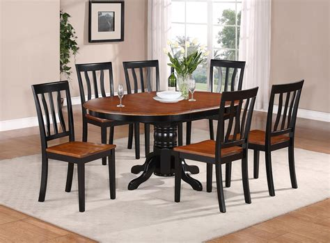 Kitchen Dining Table Sets 7 Pc Oval Dinette Kitchen Dining Set Table W 6 Wood Seat Chairs In Black Cherry Ebay
