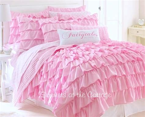 Matching Comforter And Curtain Sets by Dreamy Pink Fairy Tales Ruffled Quilt Full Queen