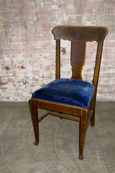 Blue Wood Dining Chairs Upholstered Seating Primate Props