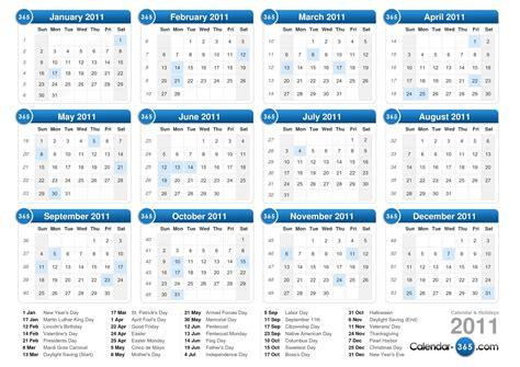 Calendar Of 2011 2011 Calendar