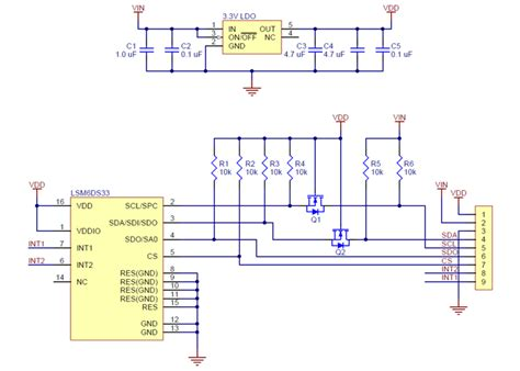accelerometer circuit diagram lsm6ds33 3d accelerometer and gyro carrier with voltage