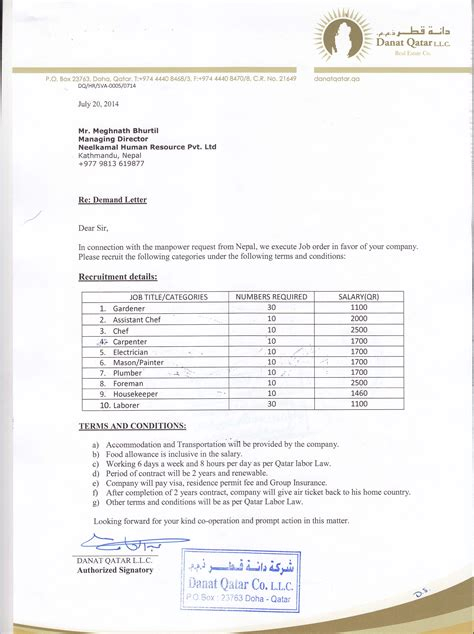 Demand Letter Of Dubai Demand Letter From Qatar Neelkamal Human Resource P Ltd