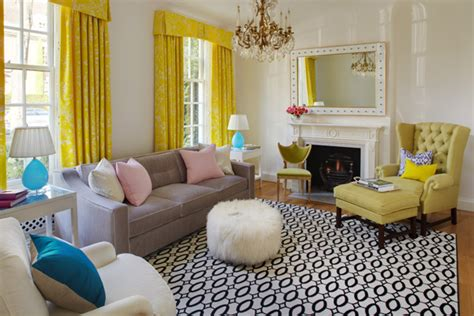 yellow drapes contemporary living room robyn karp