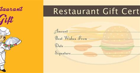 Restaurant Gift Cards Templates by Restaurant Gift Certificate Template Free Gift