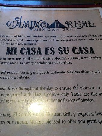 el camino real menu el camino real greensboro menu prices restaurant