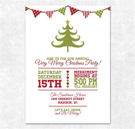 printable christmas invitation holiday bunting and
