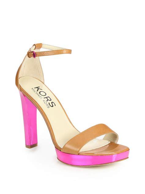 pink platform sandals kors by michael kors ysabel colorblock leather platform