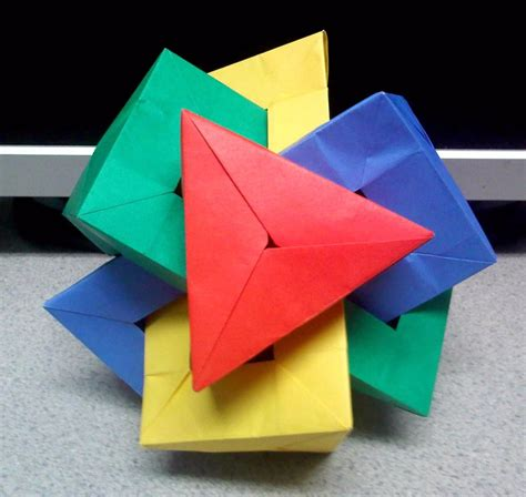 Origami Triangular Prism - four intersecting triangular prisms top by