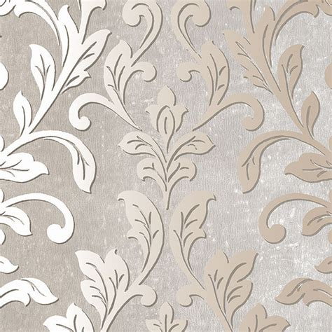 grey leaf pattern wallpaper silver leaf damask gray taupe tx34844 contemporary