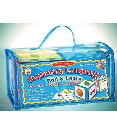 beginning language roll learn pocket cubes board