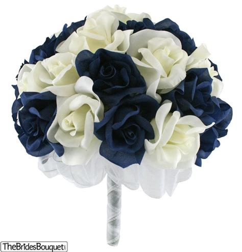 Wedding Bouquet Navy Blue by Navy Blue And Ivory Silk Bridal Bouquet 3