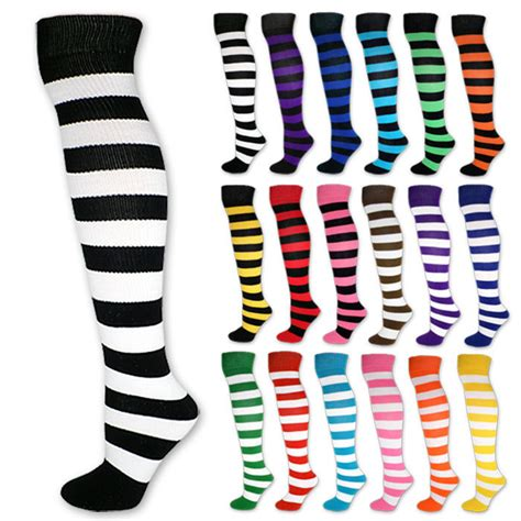 Stripe Socks striped knee high socks black white blue pink