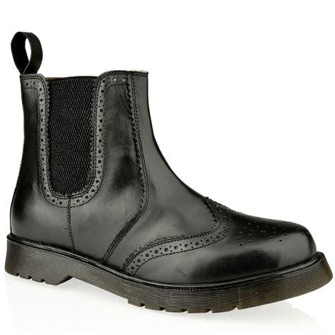 mens leather slip pull on chelsea dealer gusset brogue