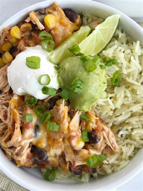 slow cooker chicken taco burrito bowls together as family