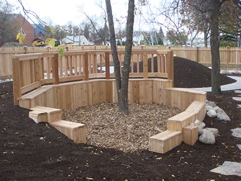 arbor daycare daycare playground enclosed by cedar fence shelter with built in shed bed