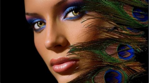 wallpaper girl makeup 1920x1080 pretty peacock feathers beautiful woman