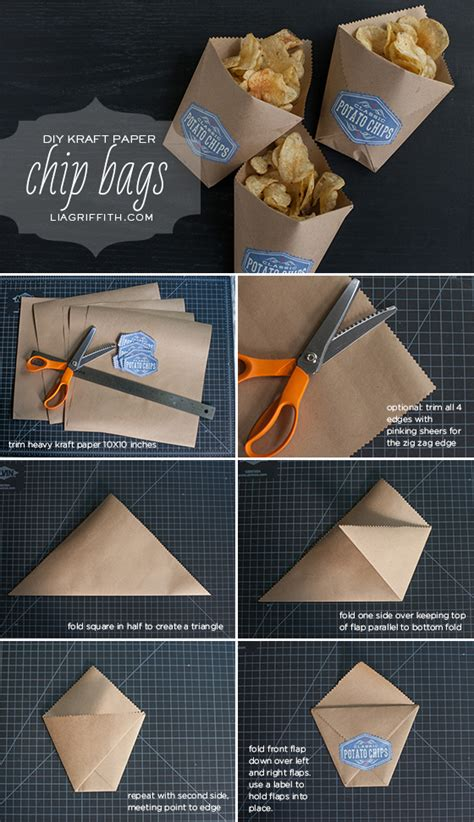 How To Paper Bags - diy kraft paper chip bags