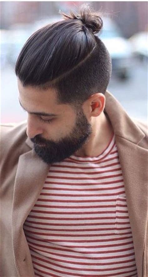 top knot mens hairstyles men s long top knot haircuts pinterest beards long