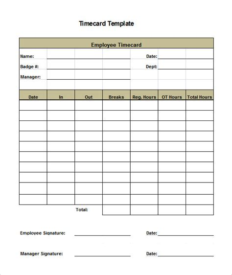 free card template excel 7 printable time card templates doc excel pdf free