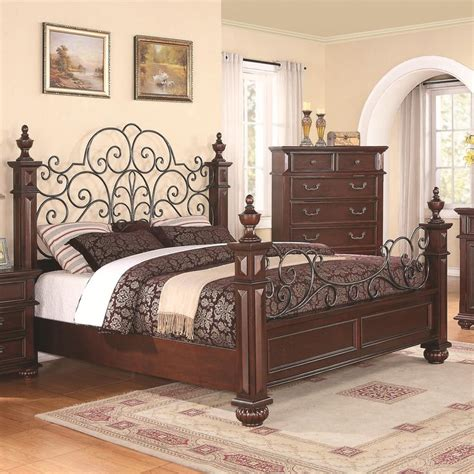 wood and metal bedroom sets low wood wrought iron king size bed dream home