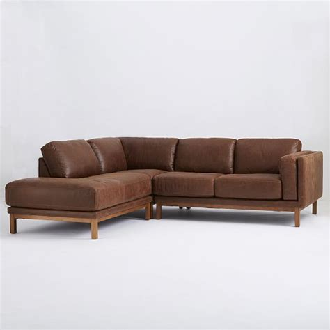 West Elm Leather Sectional by Dekalb 3 Premium Leather Terminal Chaise Sectional