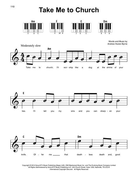 keyboard tutorial take me to church take me to church sheet music by hozier super easy piano