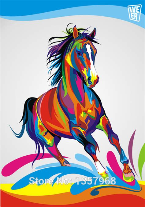pop art a colourful 0241973058 pop art original colorful paint horse painting graphic pictures art print on the canvas wall