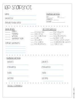 iep snapshot template iep snapshot caseload template freebie by abcs and