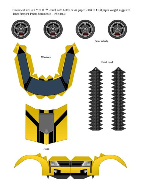 How To Make A Paper Transformer Bumblebee - tfp bumblebee yellow papercraft template by