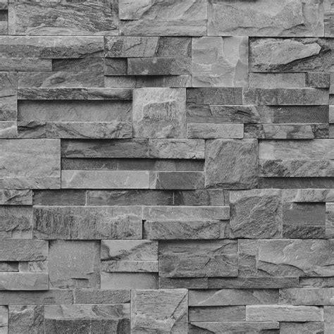 wallpaper grey brick muriva bluff slate stone block brick effect wallpaper grey
