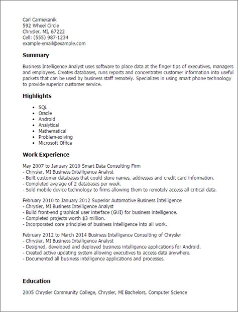 Sle Business Resume by Business Intelligence Resume Sle 28 Images Business