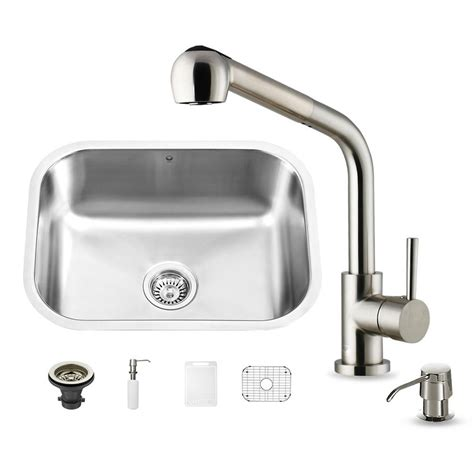 All In One Kitchen Sinks Vigo All In One Undermount Stainless Steel 23 In Single Bowl Kitchen Sink In Stainless Steel