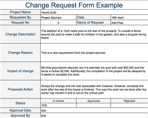 change request form template collection change request form template excel photos