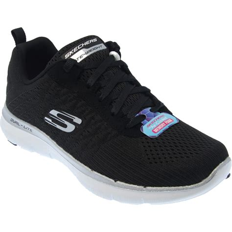 Skechers Memory Foam skechers memory foam runners in black white for