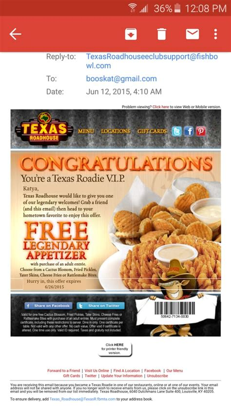texas roadhouse printable coupons make sure to sign up for their newsletter for your free