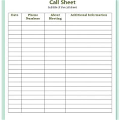 blank call sheet template best photos of phone call contact templates phone call