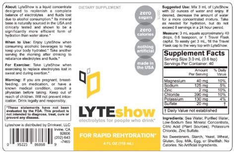 hydration zinc lyteshow electrolyte concentrate for rapid rehydration