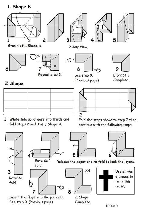 How To Make A Paper Cross - francis ow s origami diagrams cut up cross puzzle