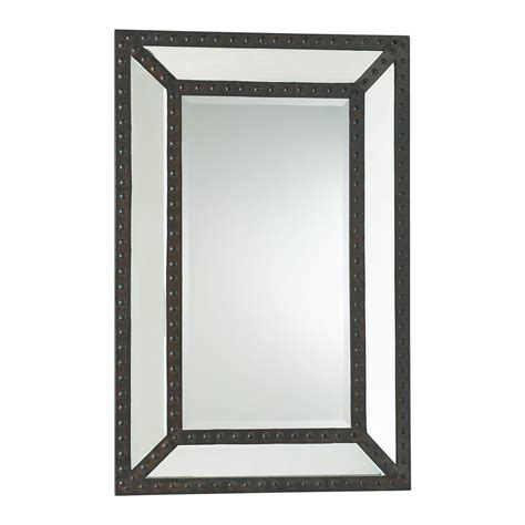 rustic mirrors merlin lodge rustic nailhead iron mirror kathy kuo home