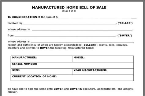 Bill Of Sale Form Download Free Premium Templates Forms Sles For Jpeg Png Pdf Word Bill Of Sale Template For Mobile Home