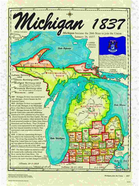 Michigan The 26th State by Statehood Maps